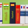 Books dictionaries of different languages — Stock Photo