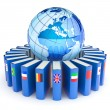 Books with the flags of the countries of the Earth. E-learning. — Stock Photo