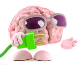 3d render of a brain holding a green plug — Stock Photo
