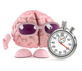 3d render of a brain with a stopwatch — Stock Photo