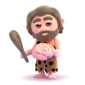 3d render of a caveman holding a brain — Stock Photo