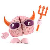 悪魔に扮した脳文字の 3 d レンダリング — ストック写真