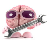 3d render of a brain holding a spanner — Foto Stock