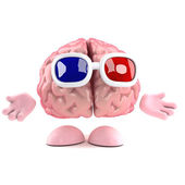 3d render of a brain watching a 3d movie — Stock Photo