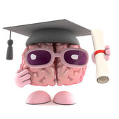 3d render of a brain as a graduate — Stock Photo