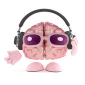 3d render of a brain wearing headphones — Stock Photo