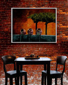 French Bistro - table, chairs with brick background. Image on wall is also a Shutterstock image — Stock Photo