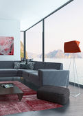 Living Room Interior with red wall and carpet — Stock Photo