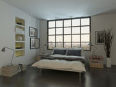 Bedroom interior with king-size bed against huge window — Stock Photo