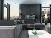 Ultramoderna loft vardagsrum inredning — Stockfoto