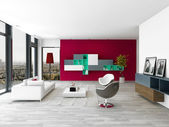 Living room interior with red wall and modern furniture — Stock Photo