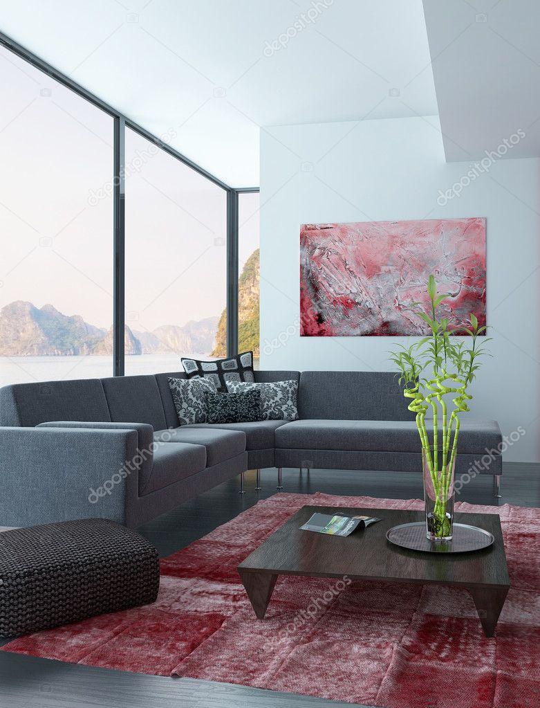 Interno soggiorno con parete rossa e tappeto foto stock for Parete rossa soggiorno