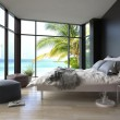 Tropical bedroom interior with double bed and seascape view — Stock Photo #46155851
