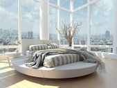 A 3d rendering of modern bedroom with floor to ceiling windows and cityscape view — Стоковое фото
