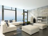 Modern living room with huge windows and concrete stone wall — Stock Photo