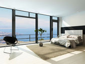Contemporary modern sunny bedroom interior with huge windows — Стоковое фото