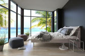 Tropical bedroom interior with double bed and seascape view — Stock Photo