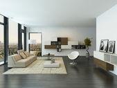 Contemporary living room loft interior — Stock Photo