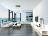 Luxury living room interior with white couch and seascape view — Photo