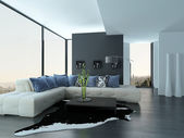 Ultramodern Loft Living Room Interior — Stock Photo