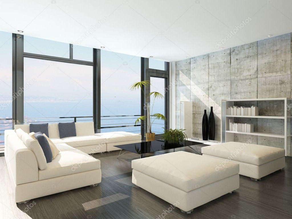 #4E6B7D Moderna sala de estar com grandes janelas e paredes de pedra de  1460 Tamanho Padrão Janela Sala