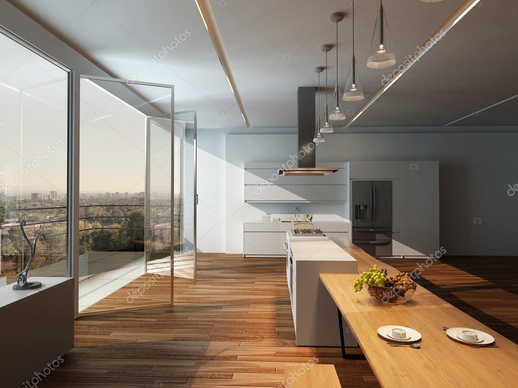 Interni moderni cucina soleggiata con pavimento in legno — Foto ...