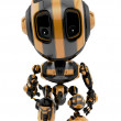 Cute little toy robot with war Paint coloring Robotic military bee — Stock Photo #46346599
