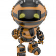 Cute little toy robot with war Paint coloring Robotic military bee — Stock Photo