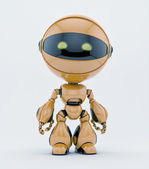 Cute robotic creature with yellow eyes — Stock Photo