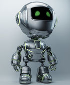 Cool metal robot with green illuminated lines — Stock Photo