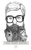 Wild beard hipster — Stock Vector