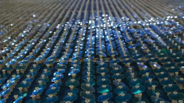Fondo reflexivo, hd lleno de lentejuelas azul. — Vídeo de stock