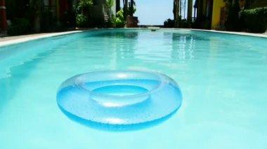 Swimming pool and Inner tube, full HD. — Stock Video