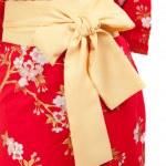 Yellow ribbon on Japanese traditional clothes of Kimono, Yukata — Stock Photo #40229421