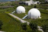 Gas storage spheres, industrial storage facility — Stock Photo