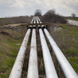 Industrial pipeline installation with gas and oil — Stockfoto