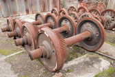 Old rusty wheels of train — Stock Photo