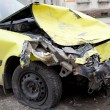 Traffic accident. Yellow crashed car — Stock Photo #41106965