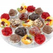Stock Photo: Party platter with variations of small cakes with different stuffing