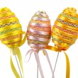 Easter eggs with a ribbon — Stock Photo