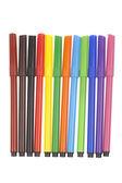 Marcadores multicoloridos isolados no branco — Fotografia Stock