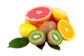 Set of citrus fruits, isolated on white — Stock Photo