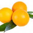 Orange fruit with leaves isolated on white background — Stock Photo
