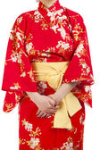Woman wearing Japanese kimono, isolated on white background. — Stock Photo