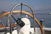 Portable radio set on yacht — Stock Photo