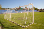 Net soccer goal football green grass — Photo