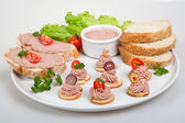 Plate with slices of bread with home made pate, decorated with vegetables — Photo