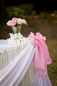 just married sign with bunch of roses and pink ribbon — Stockfoto