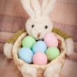 Easter basket with decorated eggs and the Easter bunny — Stock Photo #43423755