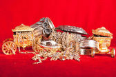 Mixed gold and silver jewelry. treasure chest — Stock Photo